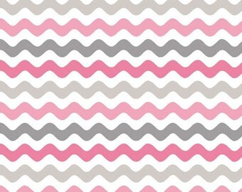 One Yard Wave - Small Waves Tone on Tone in Pink and Gray - Cotton Quilt Fabric - by RBD Designers for Riley Blake Designs - C405-10 (W3280)