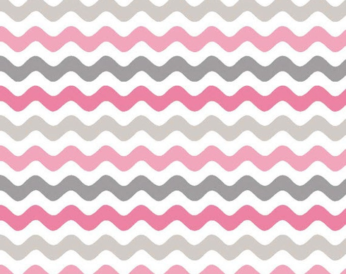 Half Yard Wave - Small Waves Tone on Tone in Pink and Gray - Cotton Quilt Fabric - RBD Designers for Riley Blake Designs - C405-10 (W3280)