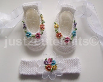 Hand Knitted Designer Baby Girls Ballet Booties & Matching Headband Newborn Special Occasion Baby Shower Original Reborn Doll #10