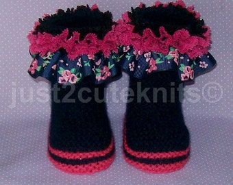 Hand Knitted Designer Baby Girl Booties Lots Of Lace Newborn Special Occasion Baby Shower Original Reborn Doll