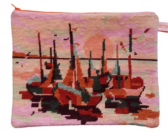 """Pouch canvas """"Sunset boat"""""""