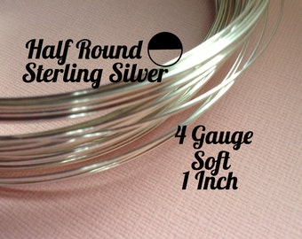 15% Off Sale! Sterling Silver Wire, HALF ROUND 4 Gauge, Soft, 1 Inch, WHOLESALE