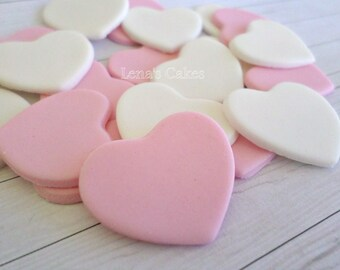 100 Wedding Edible Favors Hearts, Fondant Cake Topper, Cupcake Edible Decoration, Wedding Cake Topper Pink, Edible Toppers, Valentine Party