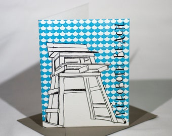 Rehoboth Beach Delaware Letterpress Card | Lifeguard Stand | gray & blue single blank card with envelope