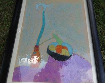 """Vintage original pastel still life, overall 30"""" x 24"""""""