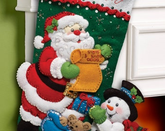 "Bucilla ~ Santa's List ~ 18"" Felt Christmas Stocking Kit #86360 DIY"