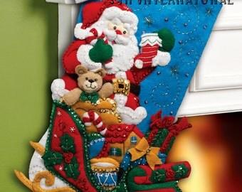 "Bucilla ~ Santa & His Sleigh ~ 18"" Felt Christmas Stocking Kit #86359 DIY"