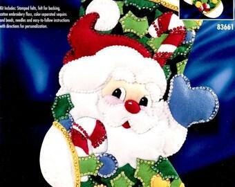 "Bucilla Holly Jolly Santa ~ 18"" Felt Christmas Stocking Kit #83661, Face, Holly DIY"