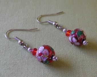Vintage Cloisonne Dangle Earrings Pierced Ears