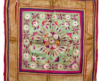 VINTAGE TEXTILE - Fine Vintage Chakla in flower design on pale green silk.