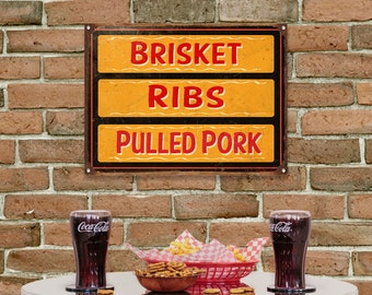 BBQ Brisket Ribs Pulled Pork Barbecue Kitchen Sign - #56235