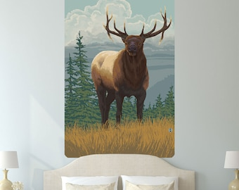 Elk Stag in a Field Nature Wall Decal - #60969