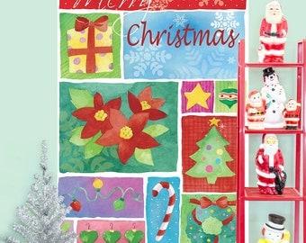 Merry Christmas Art Panels Wall Decal - #65609