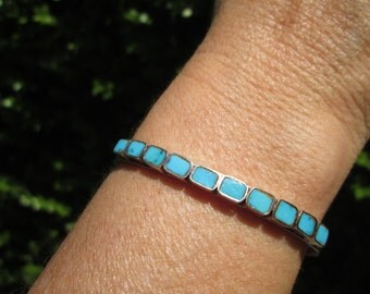 Turquoise and Sterling Silver Inlay Cuff Bracelet