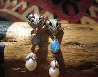 Ornate Opal, Seed Pearl and Sterling Earrings