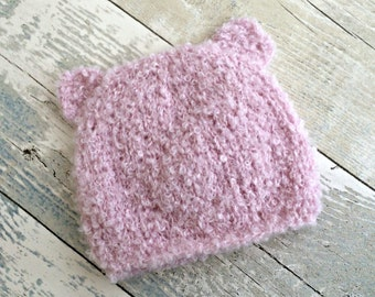 Baby Hats for Girls, Newborn Bear Hat, Knitted Baby Hat with Ears, Bear Ears Hat, Baby Girl Accessories, Newborn Take Home Outfit Girl