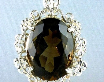 Large Smokey Topaz Oval Cut Pendant 21.67 Carats .925 Sterling Silver  22X16 MM