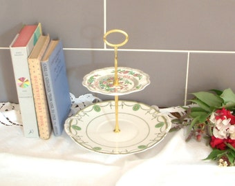 Beautiful Vintage Plates Cake Stand - 2 Tier - With Contrasting green, white and pink patterned plates with gold stem - F12