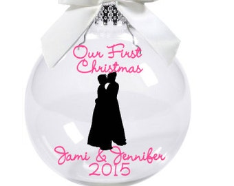 LGBT Our First  Christmas Ornament/ Personalized Ornament for Lesbian/Gay Couple
