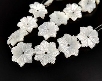 10pcs 12mm Natural White MOP Daisy Flower Beads White Mother of Pearl Carved Flower Beads