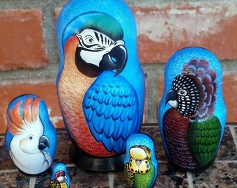 Parrot on Five Russian Nesting Dolls. Small. Hand Painted. Birds.