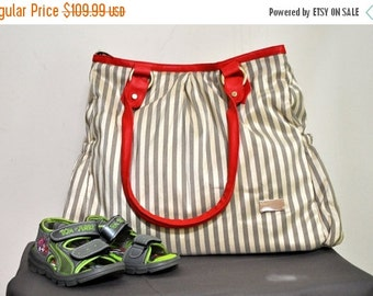 ON SALE Diaper Bag with Stroller Straps, Stripes Diaper bag, Diaper Bag, Diaper Bag Tote, Nappy Bag, Leather Diaper Bag, Messenger Diaper Ba