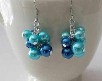 Cluster Earrings, Handmade Earrings, 2 Color Earrings, Glass Pearl Cluster Earrings, Dangle Earrings