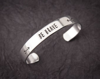 "Customized ""Be Brave"" cuff bracelet, mom bracelet, grandma bracelet"