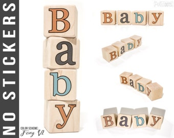 Baby Name Blocks - Personalized Letter Blocks - NO STICKERS - Personalized Name Blocks