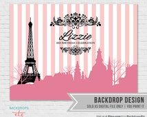 Paris Backdrop // Pink and Black Paris Backdrop // Paris Party Backdrop // Eiffel Tower Background