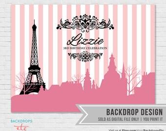 Paris Backdrop // Pink and Black Paris Backdrop // Paris Party Backdrop // Eiffel Tower Background
