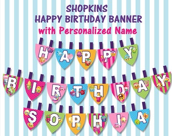 Shopkins Printable Happy Birthday Banner with Personalized Name