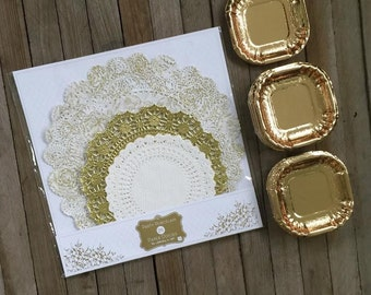 Metallic Gold Foil Mini Dessert Plates and Gold Paper Doily Set- 24 Plates and 24 Doilies in 3 Sizes Gold, White- Party Supply -Wedding