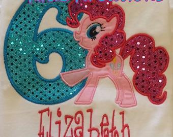 Pinkie Pie Birthday Shirt, Pinkie Pie, Pinkie Pie Personalized Shirt, My Little Pony, Embroidered Shirt