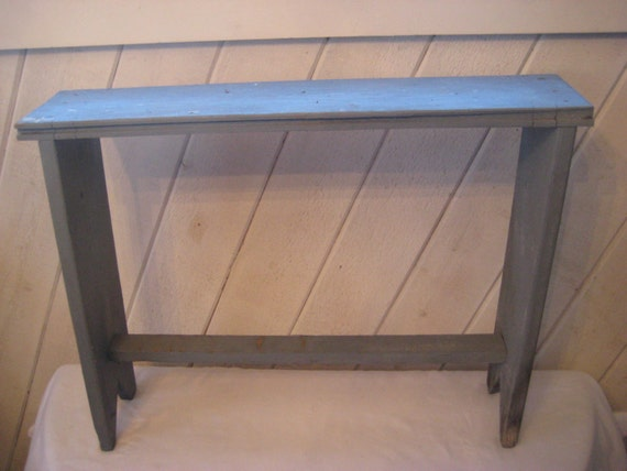 Tall narrow blue bench plant stand entryway foyer bench Narrow entry bench