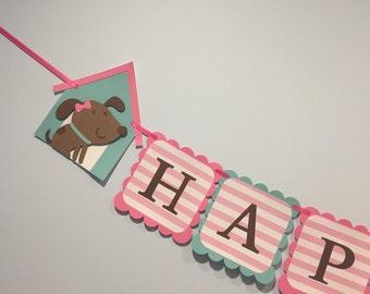 Girl Puppy theme birthday Banner
