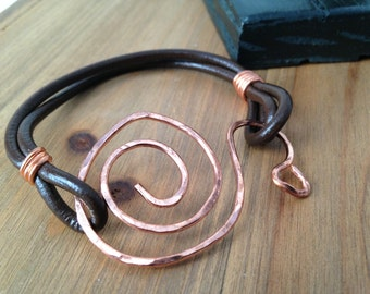 Copper & Leather Bracelet