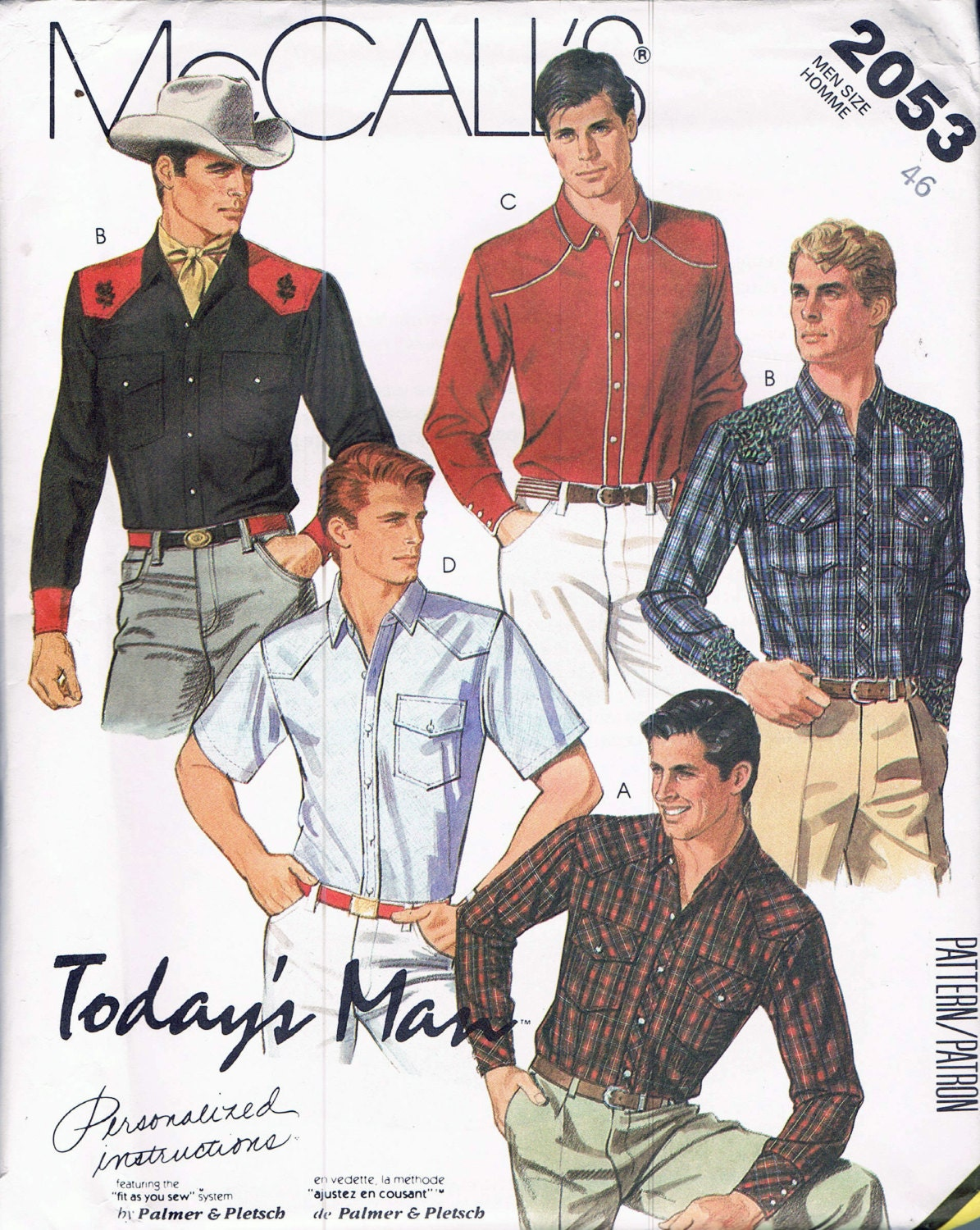 Chest 46 mens western shirt sewing pattern snap front western sold by busybeaverboutique jeuxipadfo Images
