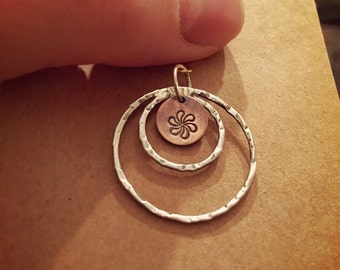 Sterling silver and copper pinwheel pendant