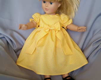 American Girl and 18 inch fancy doll dress in small checked gingham fabric