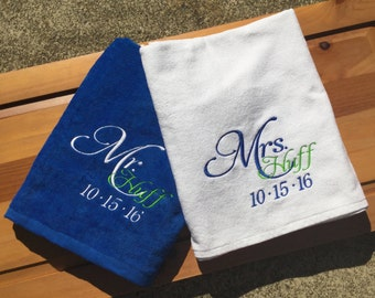 Personalized Mr. & Mrs. Beach Towels / Custom/Wedding Date/ Embroidered/Set of 2 Towels You design it --We create it