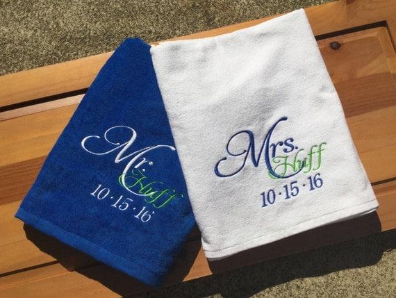 Personalized Mr Mrs Beach Towels Custom Wedding Date