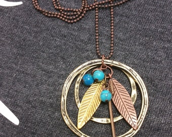 Copper Feather & Arrow Necklace