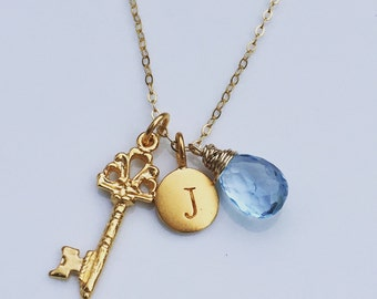 Initial Key Charm Necklace - Choose stone and Initial