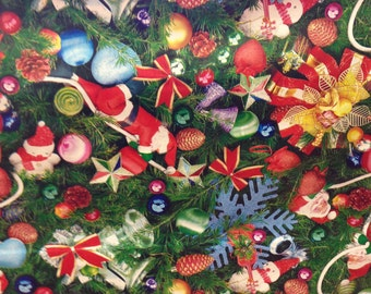 "55"" Christmas Pattern Oilcloth with Felt Backing - 22 YARD ROLL"