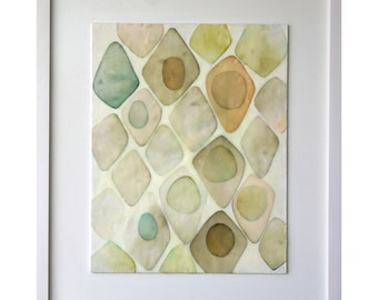 "Original Art by Gina Cochran - Encaustic Collage - ""Avocados in Pearl"""