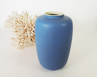 "Coors Pottery Matte Blue Glaze Mid Century Vase 9"" Tall"