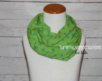 KIDS Apple Green with Aqua Blue Polka Dots Cotton Spandex Knit Infinity Scarf Child's Accessories