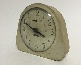 Vintage Starburst Atomic Gilbert Clock, Wind Up, Alarm Clock