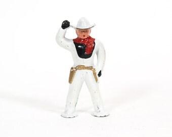 Vintage 1950s Barclay Cast Metal Cowboy Toy, White Cowboy Figure, Shadow box